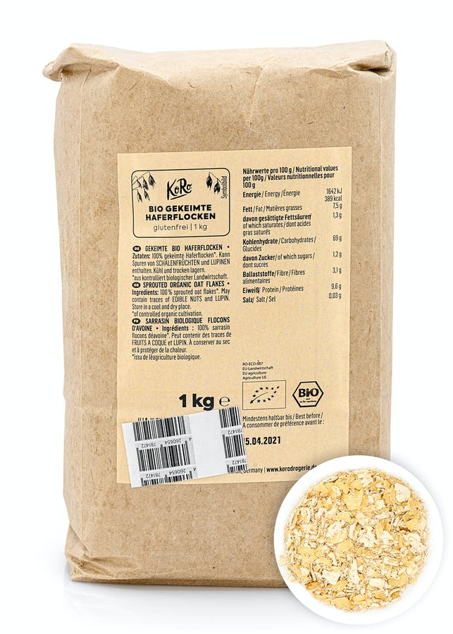 Flocons d'avoine germés bio | 1 kg