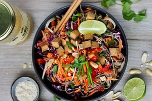 Soba Pasta Salad with crispy Tofu