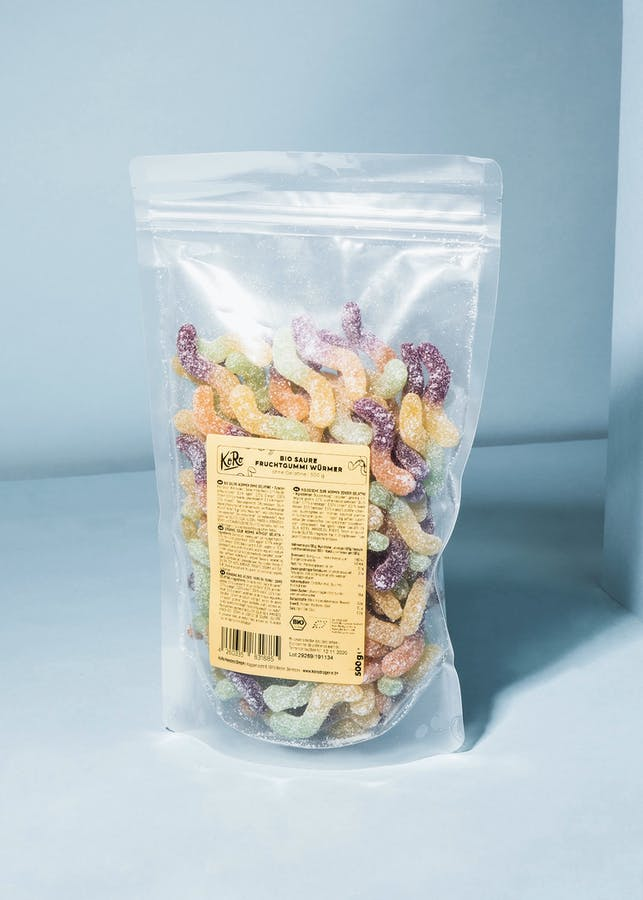 Organic sour worms without gelatin 1,5 kg