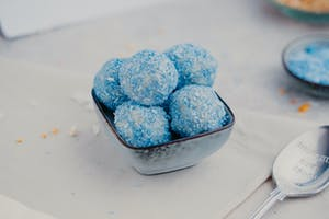 Blue coconut balls
