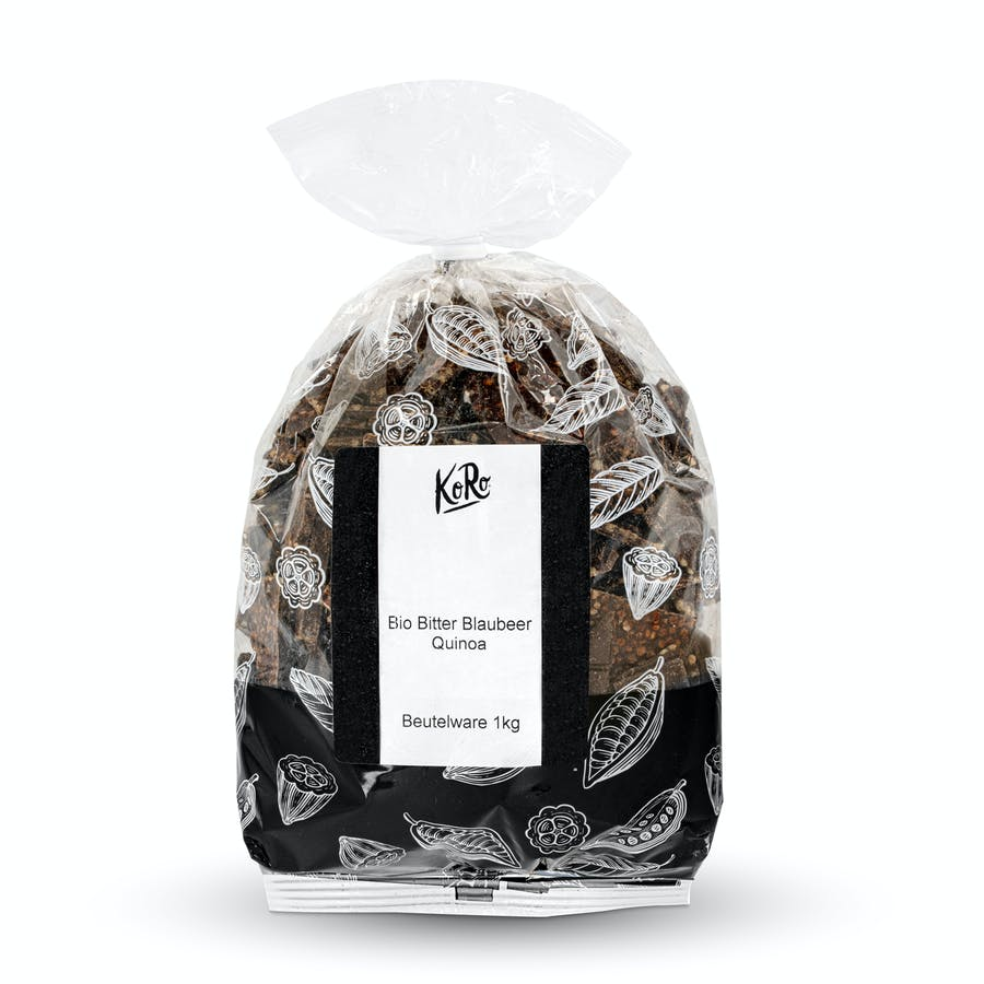 Organic chocolate shards with blueberries and quinoa 5 x 1 kg