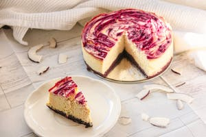 White chocolate coconut cheesecake