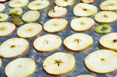 Our apple rings are not baked in the oven, but dried on heated Teflon tapes: this drying process is gentler than in the one in the oven, as the apples are...