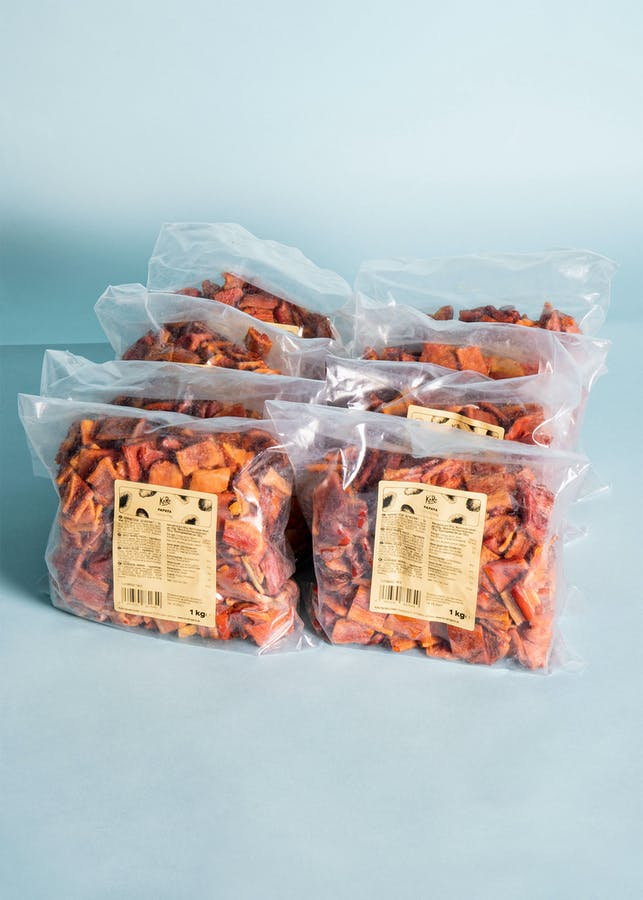 Dried papaya pieces without additives | 8 x 1 kg